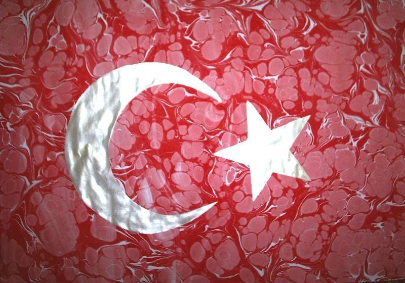 Türk Bayrağı Ebru Sanatı