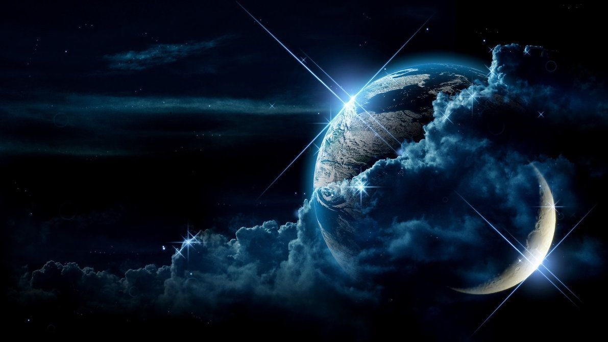 Earth and Moon Space Wallpaper