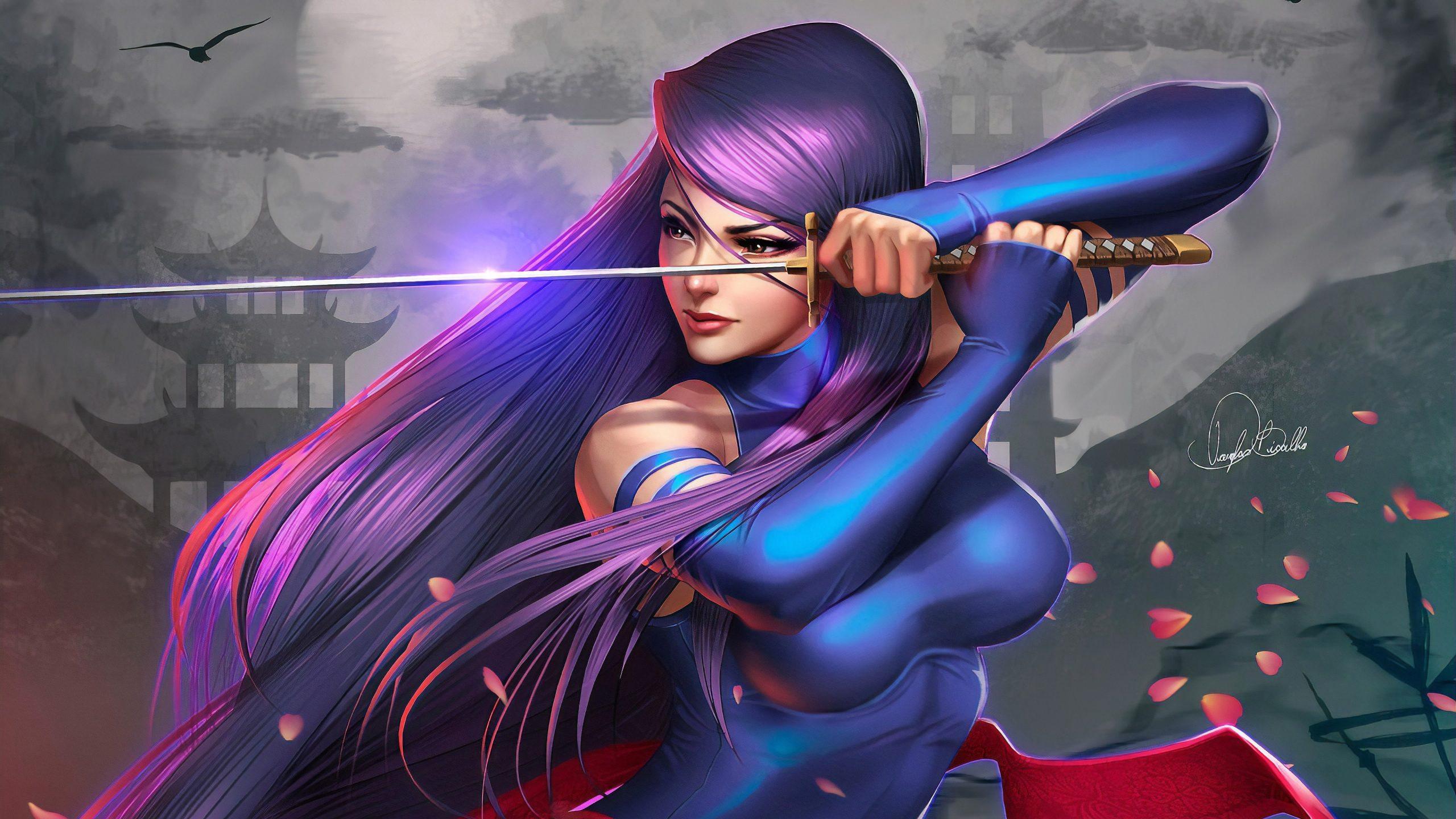 Samurai Girl Art 4K Wallpaper scaled
